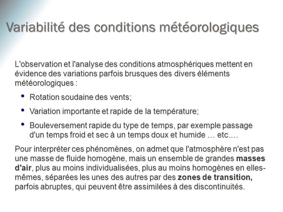 Variabilité des conditions météorologiques