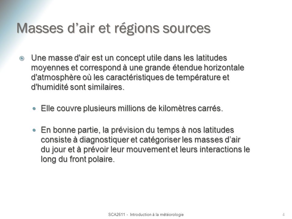 Masses d'air et régions sources