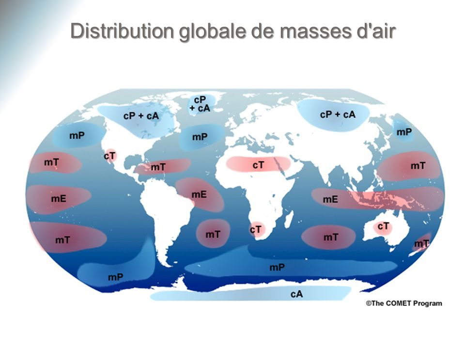 Distribution globale de masses d air
