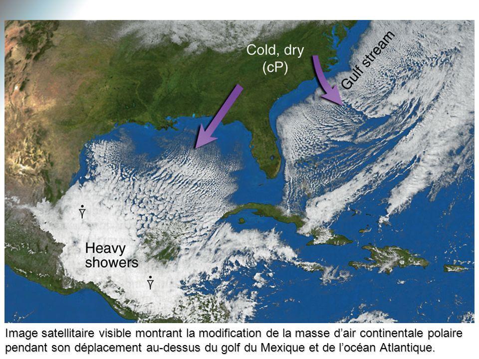 Image satellitaire visible montrant la modification de la masse d'air continentale polaire pendant son déplacement au-dessus du golf du Mexique et de l'océan Atlantique.