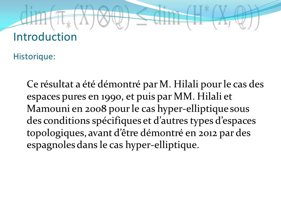 Introduction Historique: