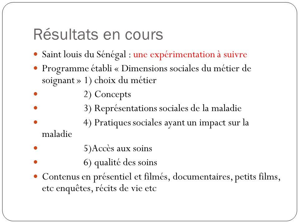Résultats en cours Saint louis du Sénégal : une expérimentation à suivre.