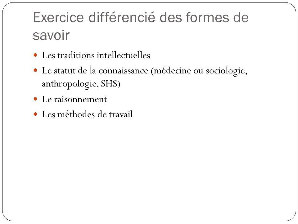 Exercice différencié des formes de savoir