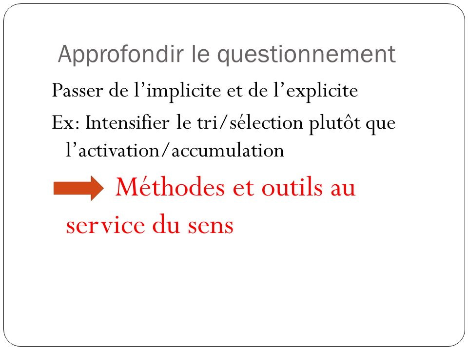 Approfondir le questionnement