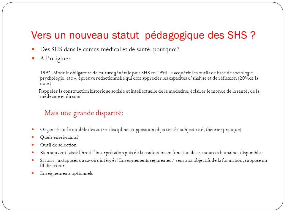Vers un nouveau statut pédagogique des SHS