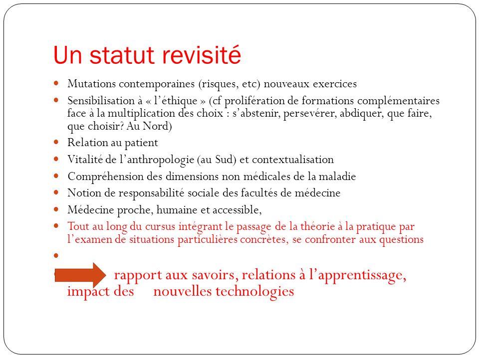 Un statut revisité Mutations contemporaines (risques, etc) nouveaux exercices.