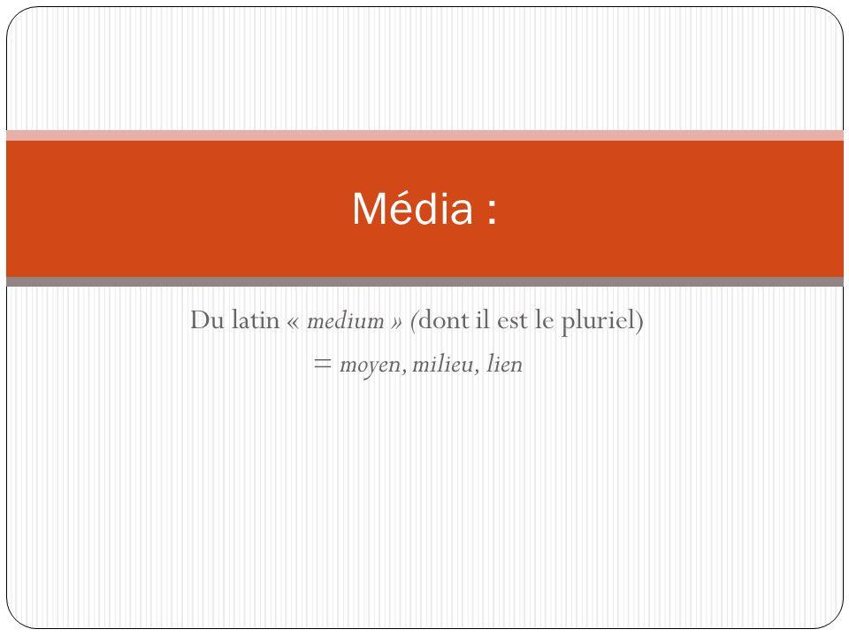 Du latin « medium » (dont il est le pluriel) = moyen, milieu, lien