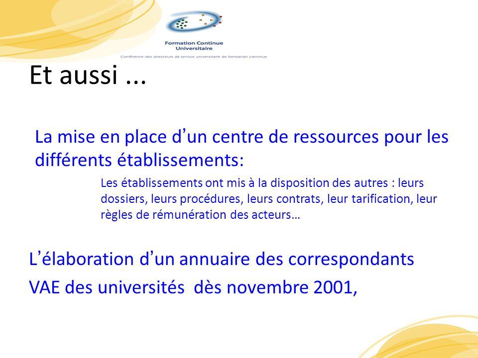 Et aussi ... La mise en place d'un centre de ressources pour les différents établissements: