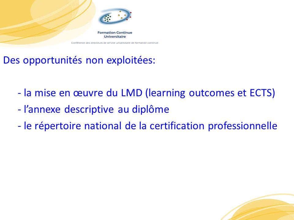 Des opportunités non exploitées: - la mise en œuvre du LMD (learning outcomes et ECTS) - l'annexe descriptive au diplôme - le répertoire national de la certification professionnelle