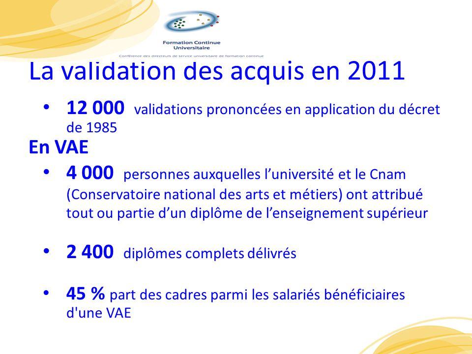 La validation des acquis en 2011