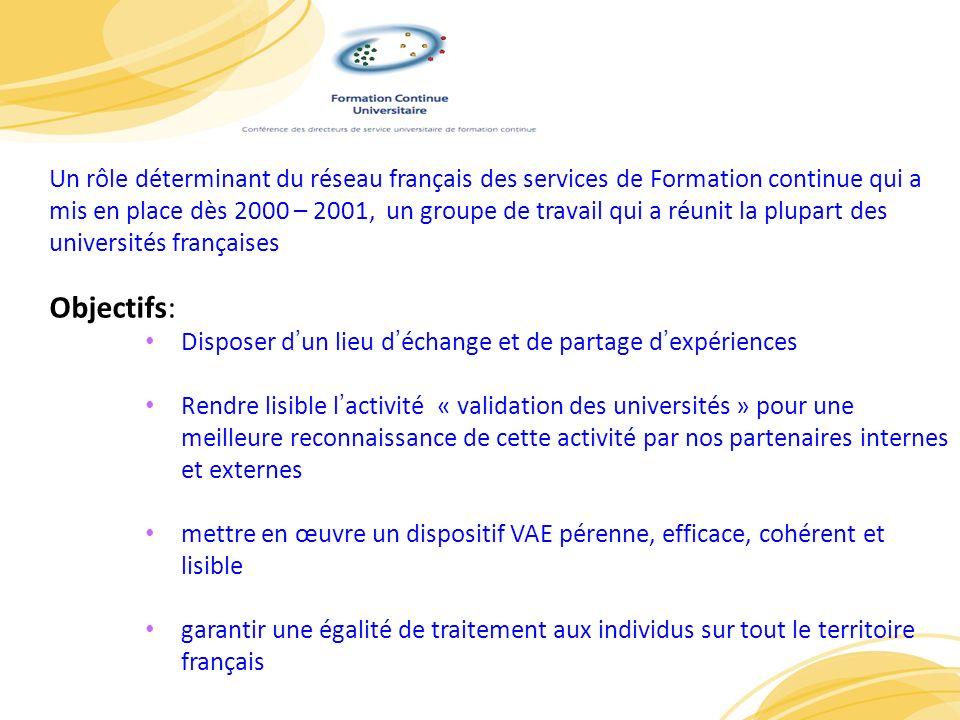 Un rôle déterminant du réseau français des services de Formation continue qui a mis en place dès 2000 – 2001, un groupe de travail qui a réunit la plupart des universités françaises