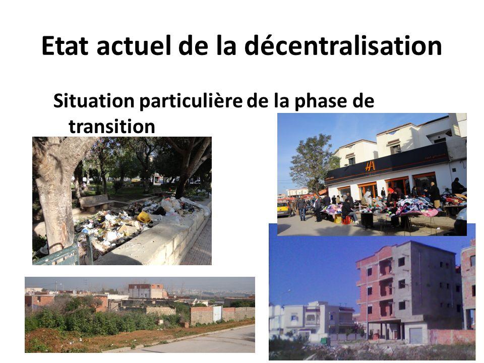 Etat actuel de la décentralisation