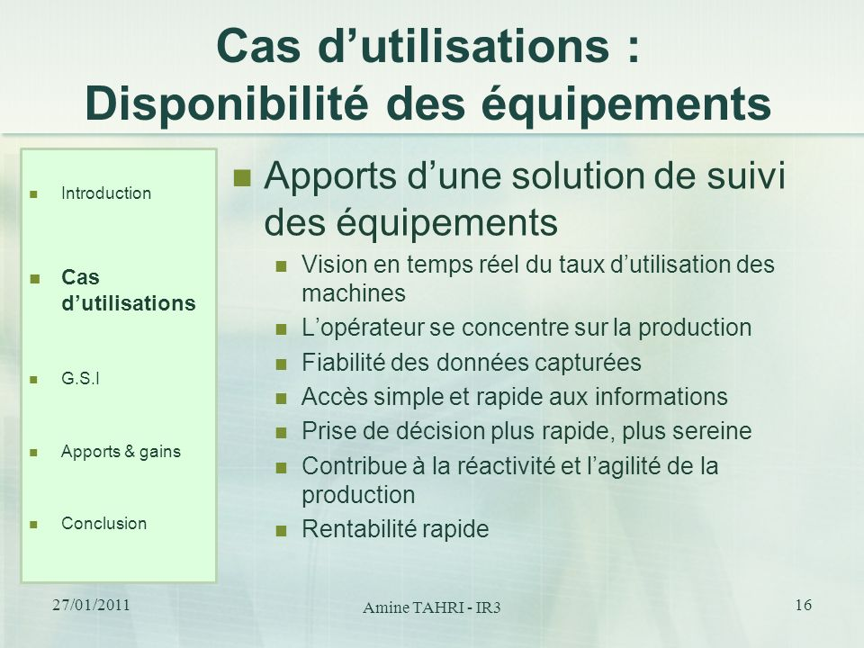 Cas d'utilisations : Disponibilité des équipements
