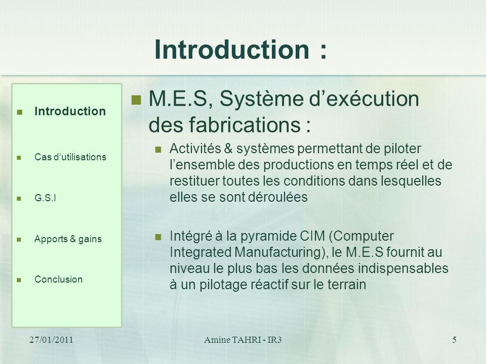 Introduction : M.E.S, Système d'exécution des fabrications :