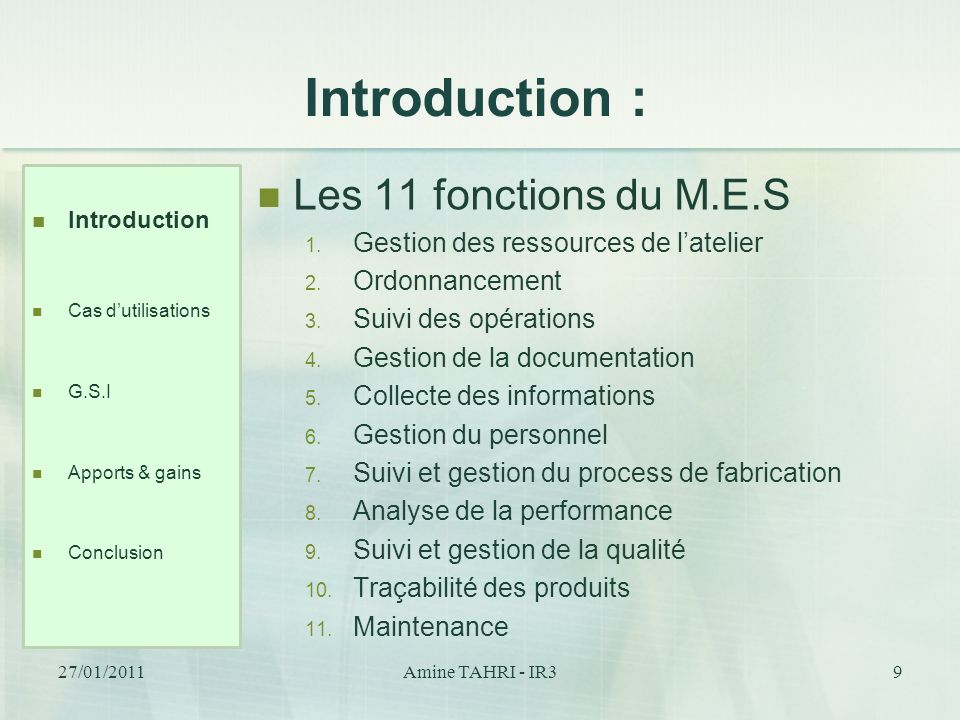 Introduction : Les 11 fonctions du M.E.S