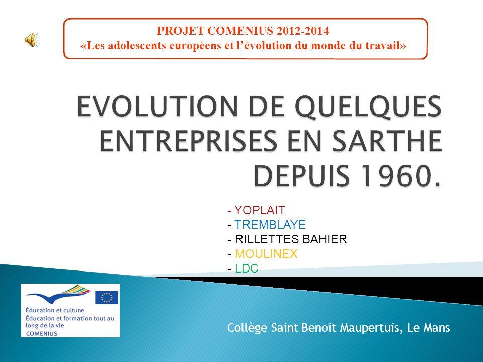 EVOLUTION DE QUELQUES ENTREPRISES EN SARTHE DEPUIS 1960.