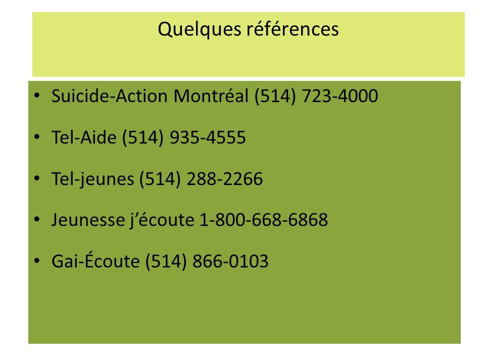 Quelques références Suicide-Action Montréal (514) 723-4000