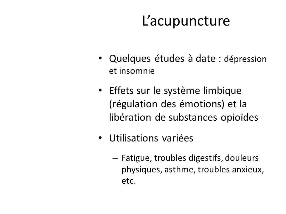 L'acupuncture Quelques études à date : dépression et insomnie