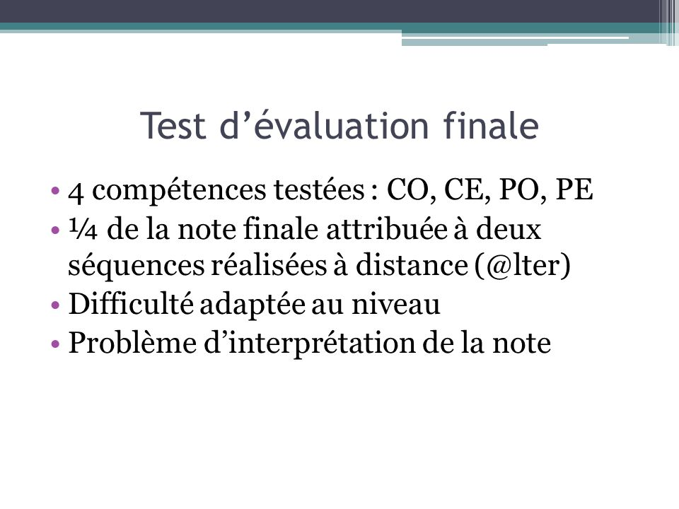 Test d'évaluation finale