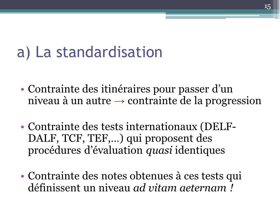 a) La standardisation Contrainte des itinéraires pour passer d'un niveau à un autre → contrainte de la progression.
