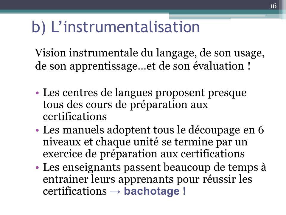 b) L'instrumentalisation
