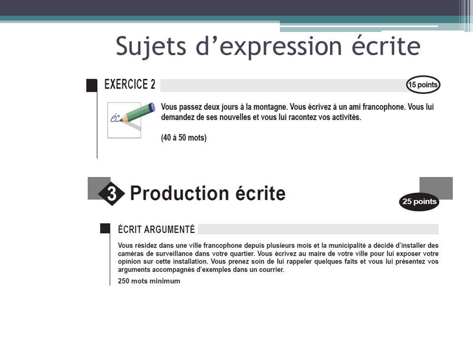 Sujets d'expression écrite