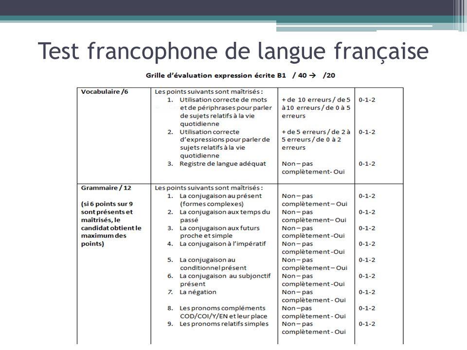 Test francophone de langue française