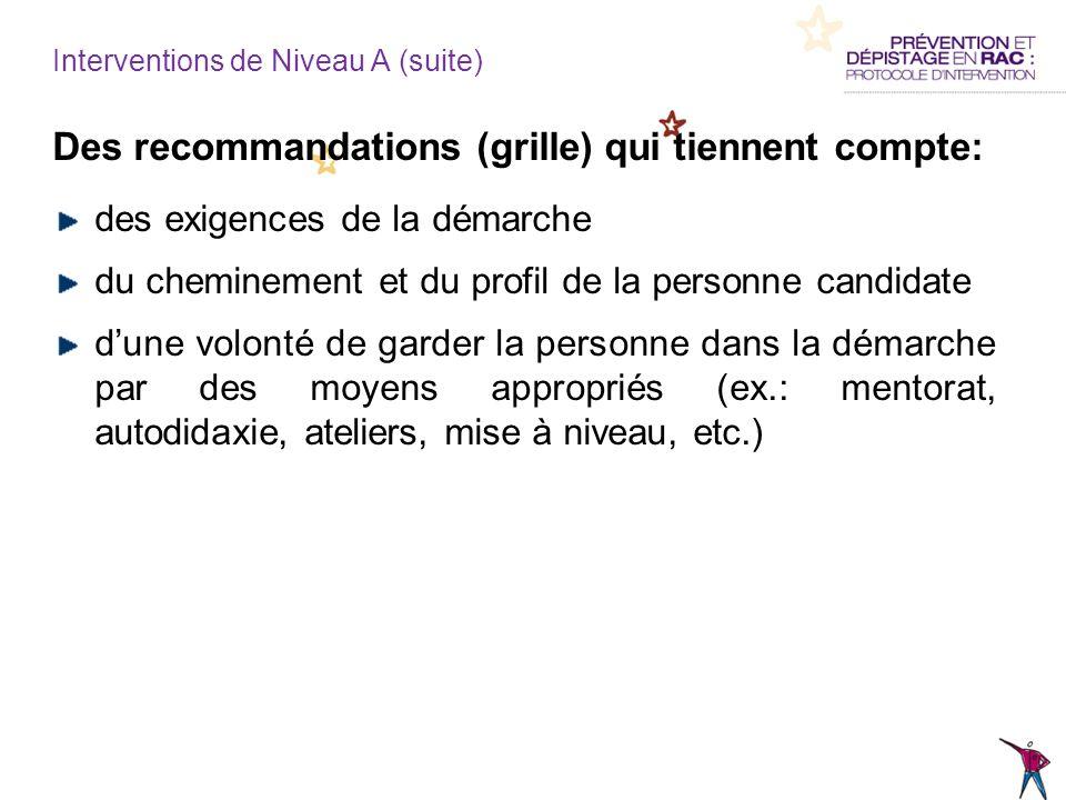Des recommandations (grille) qui tiennent compte: