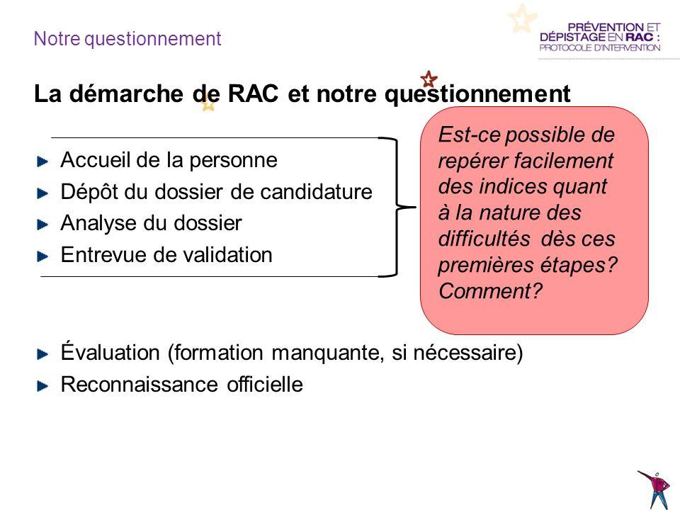 La démarche de RAC et notre questionnement