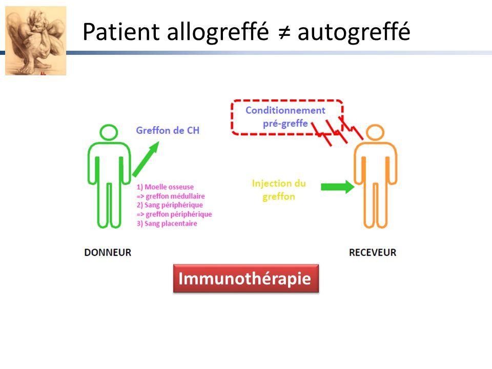 Patient allogreffé ≠ autogreffé