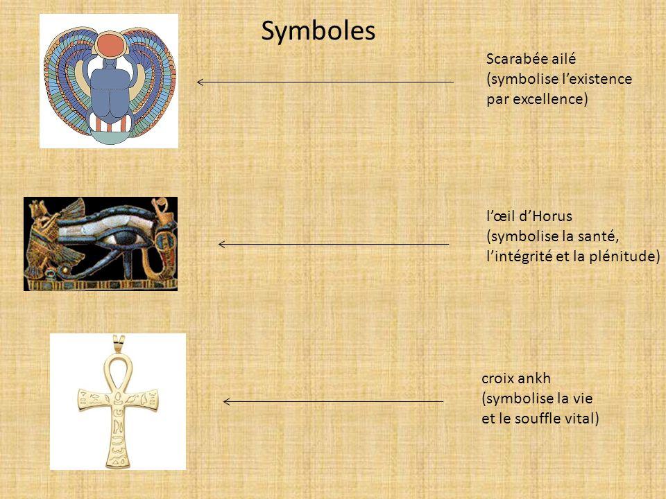 Symboles Scarabée ailé (symbolise l'existence par excellence)