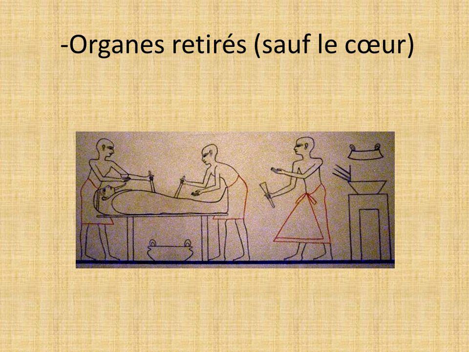 -Organes retirés (sauf le cœur)