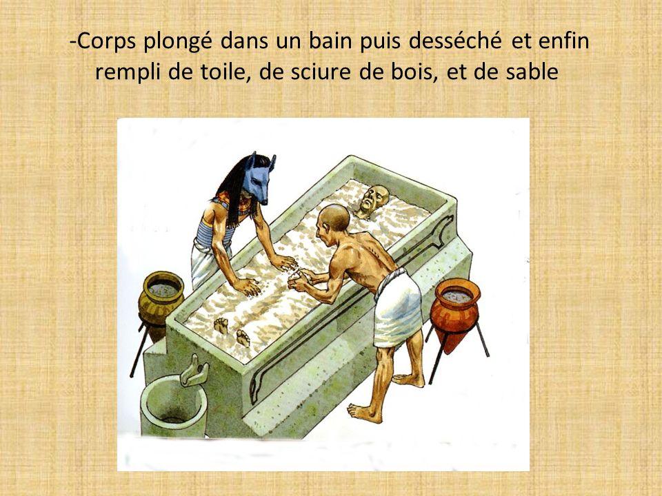 -Corps plongé dans un bain puis desséché et enfin rempli de toile, de sciure de bois, et de sable