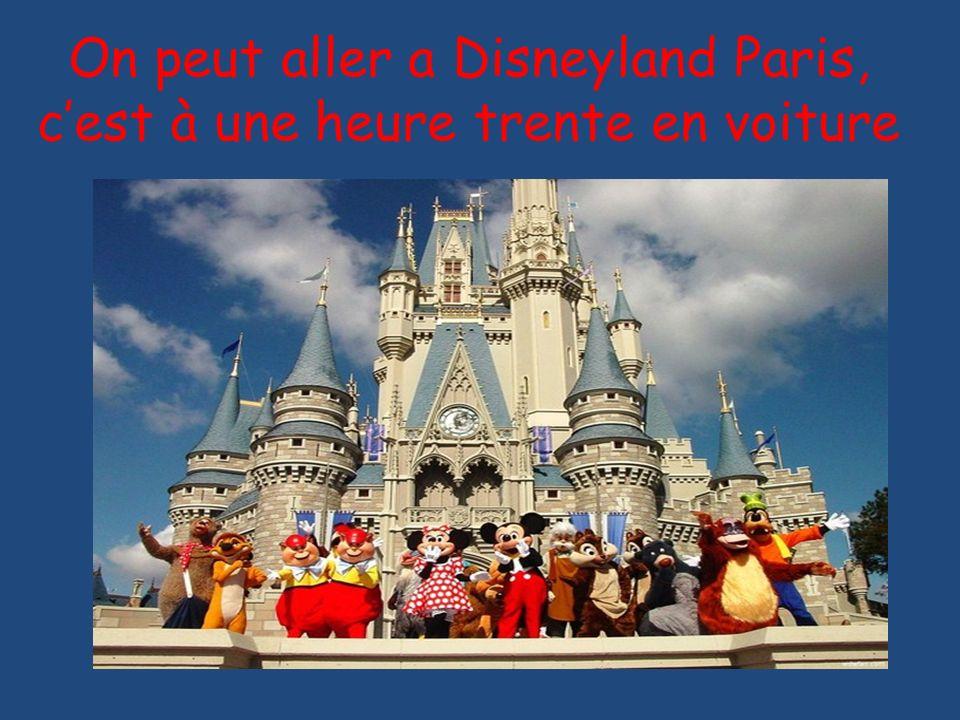 On peut aller a Disneyland Paris, c'est à une heure trente en voiture