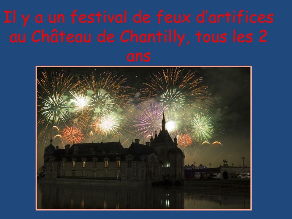 Il y a un festival de feux d'artifices au Château de Chantilly, tous les 2 ans