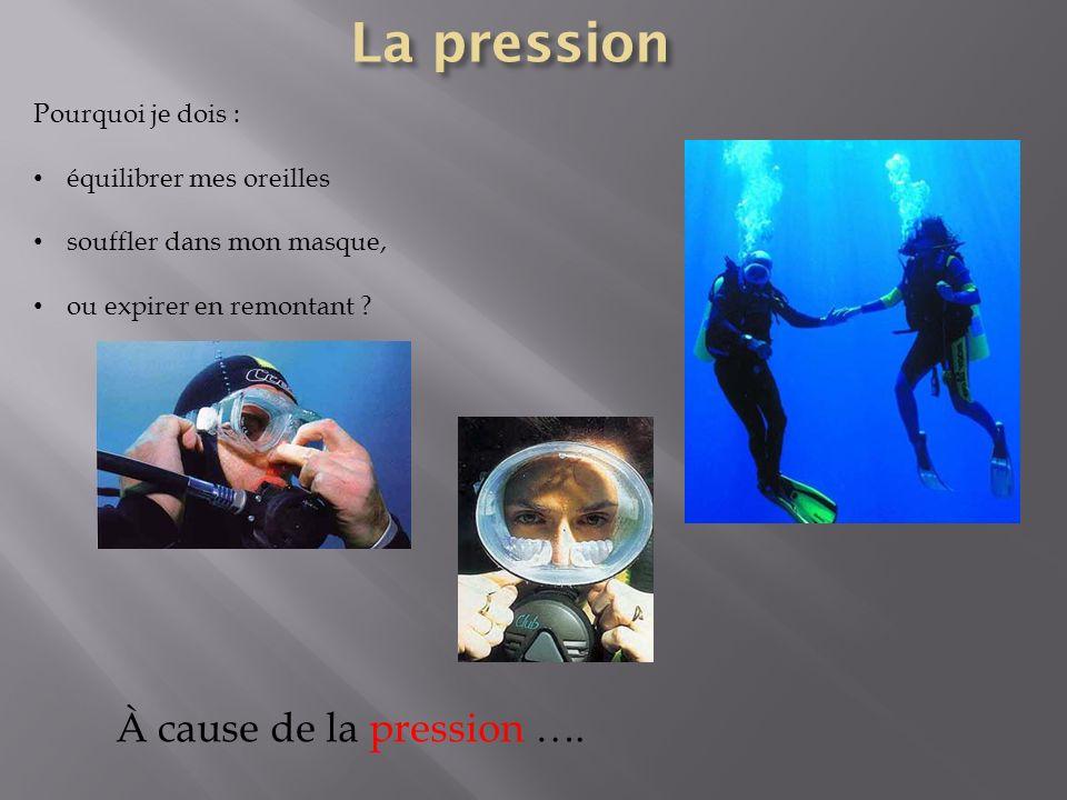 La pression À cause de la pression …. Pourquoi je dois :