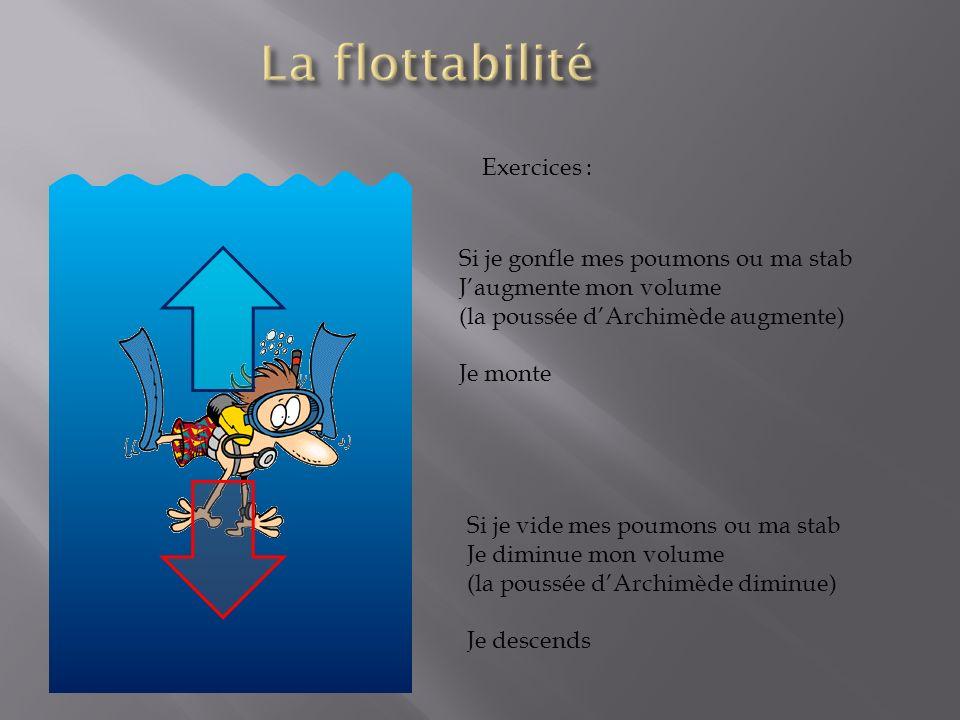 La flottabilité Exercices : Si je gonfle mes poumons ou ma stab