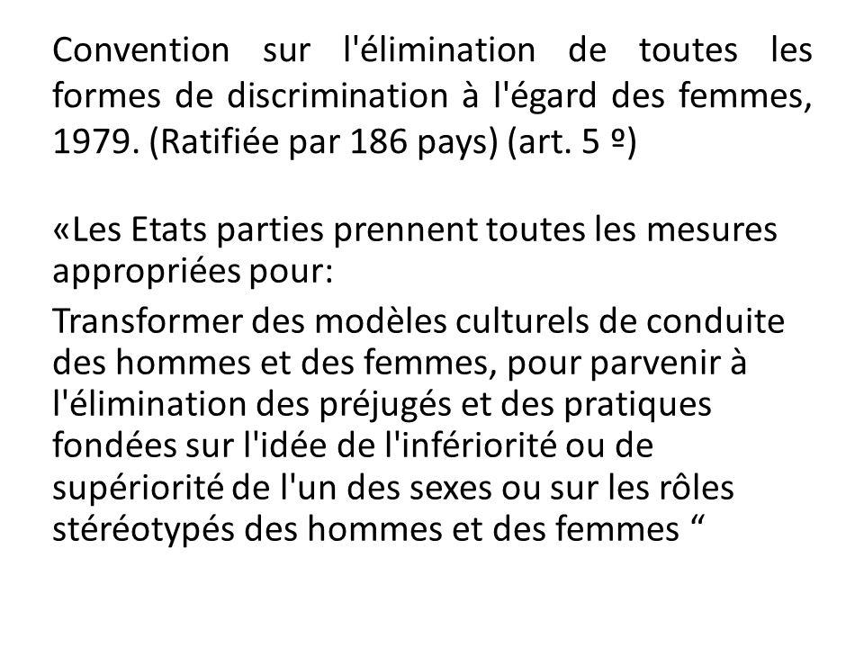 Convention sur l élimination de toutes les formes de discrimination à l égard des femmes, 1979. (Ratifiée par 186 pays) (art. 5 º)