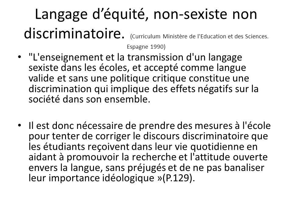 Langage d'équité, non-sexiste non discriminatoire