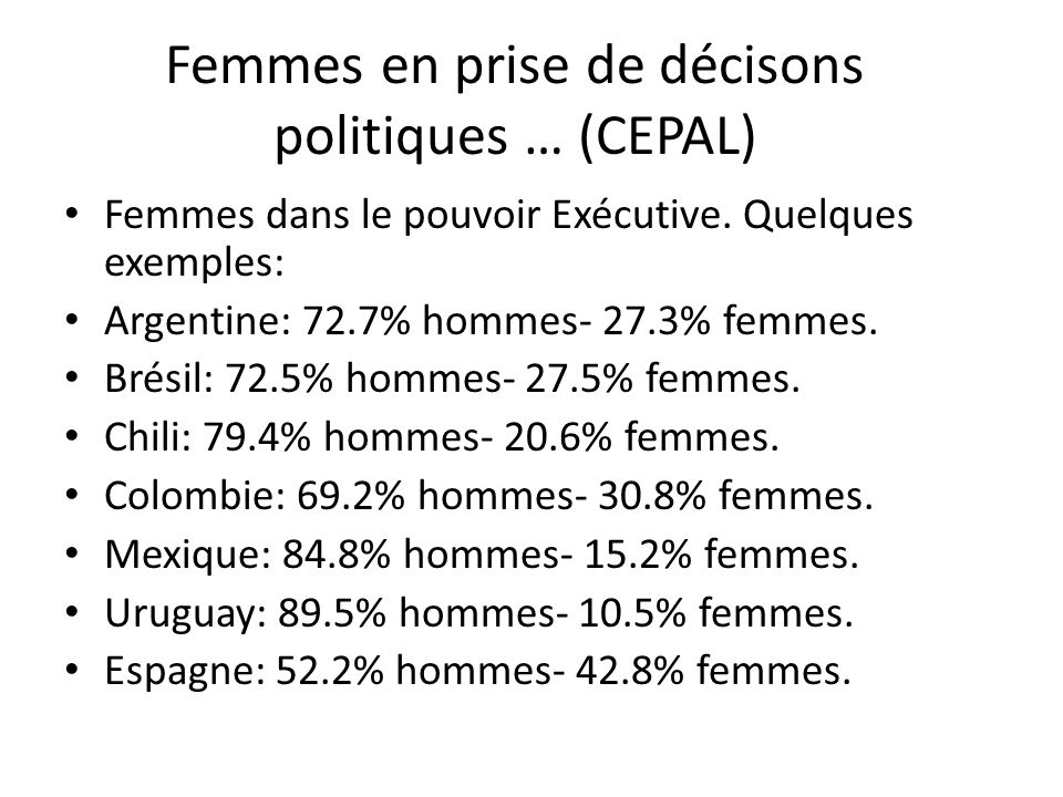 Femmes en prise de décisons politiques … (CEPAL)