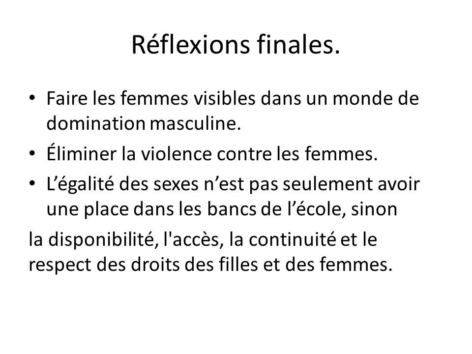 Réflexions finales. Faire les femmes visibles dans un monde de domination masculine. Éliminer la violence contre les femmes.