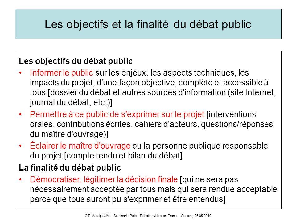 Les objectifs et la finalité du débat public