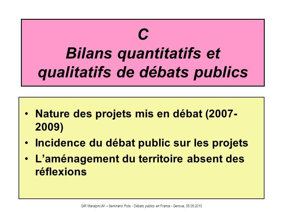 C Bilans quantitatifs et qualitatifs de débats publics