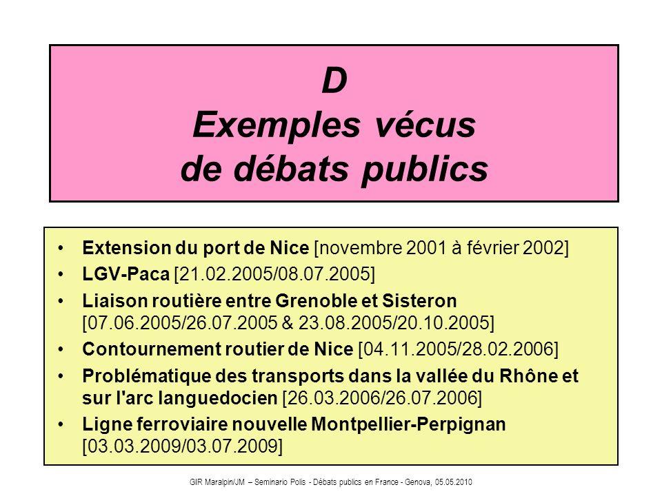 D Exemples vécus de débats publics