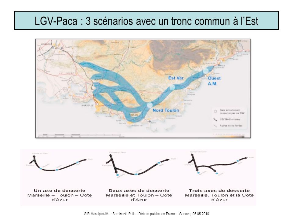 LGV-Paca : 3 scénarios avec un tronc commun à l'Est