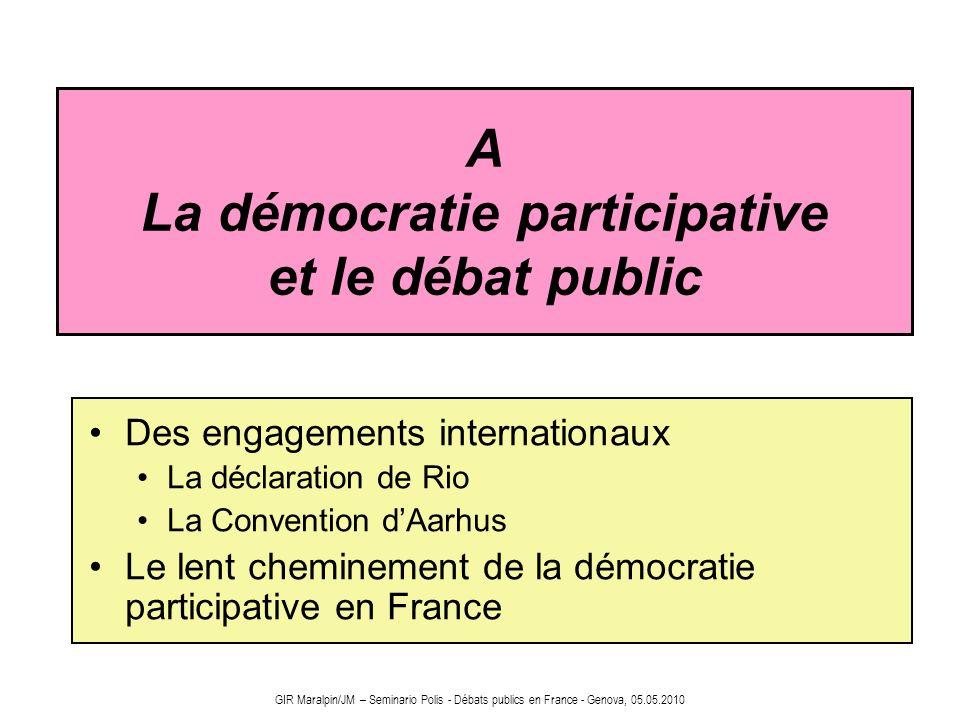 A La démocratie participative et le débat public