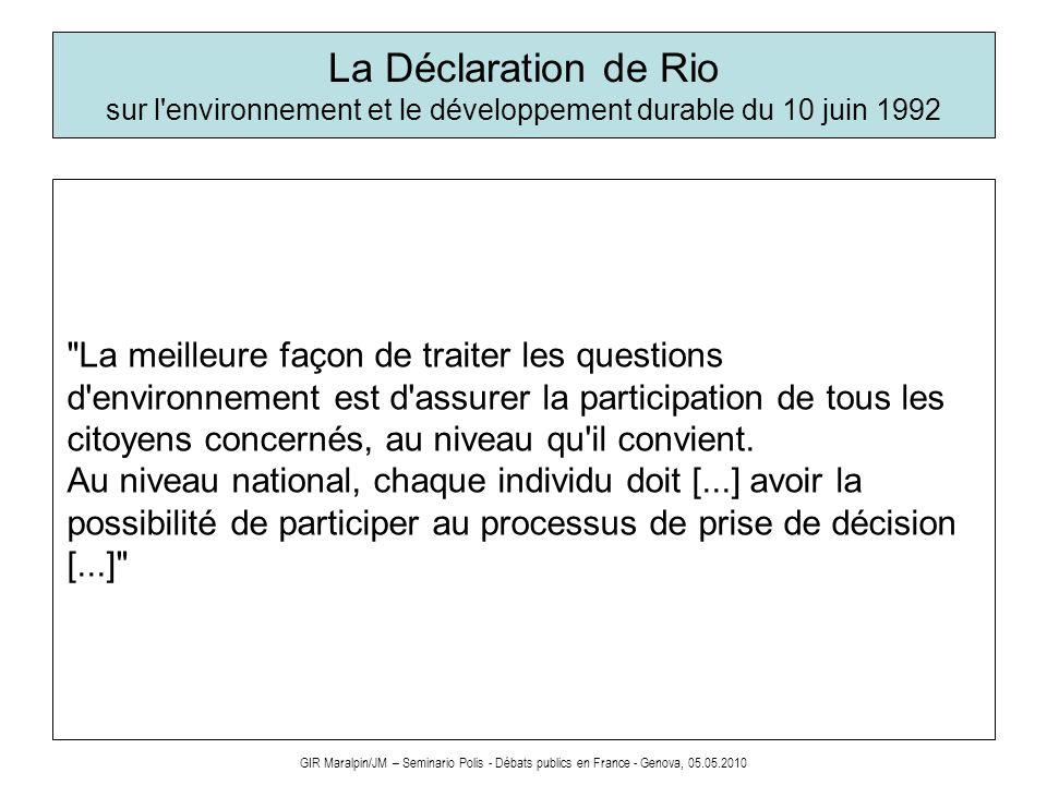 La Déclaration de Rio sur l environnement et le développement durable du 10 juin 1992