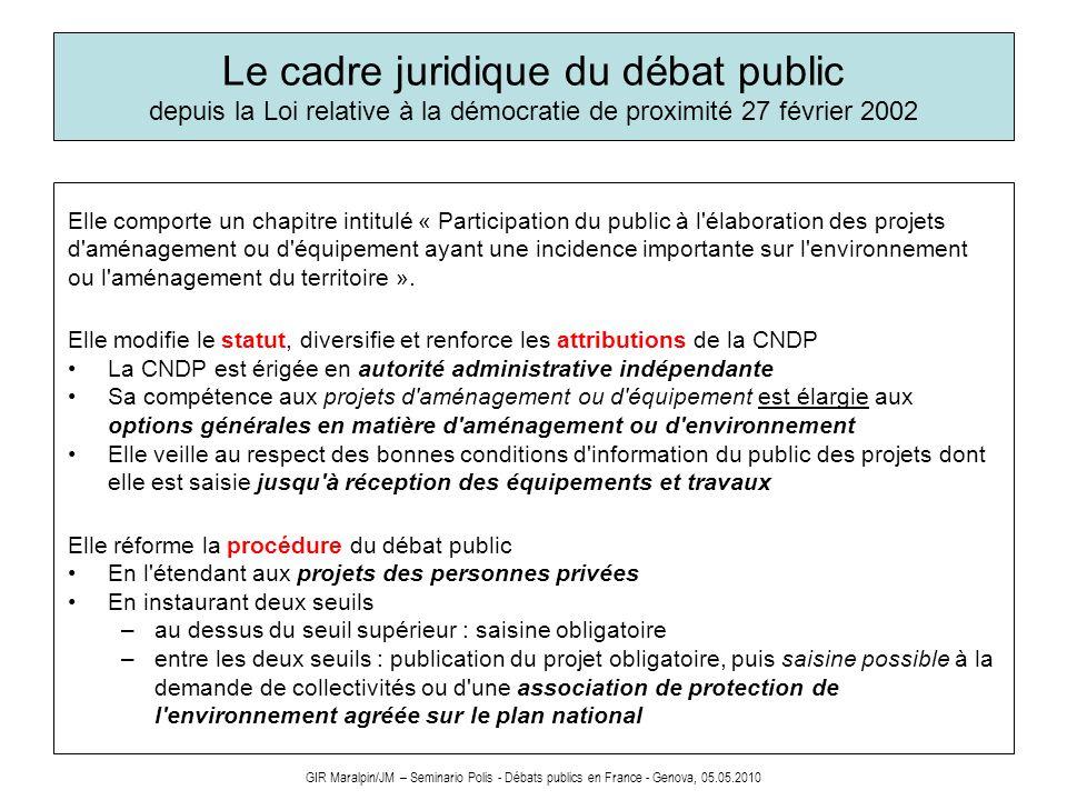 Le cadre juridique du débat public depuis la Loi relative à la démocratie de proximité 27 février 2002