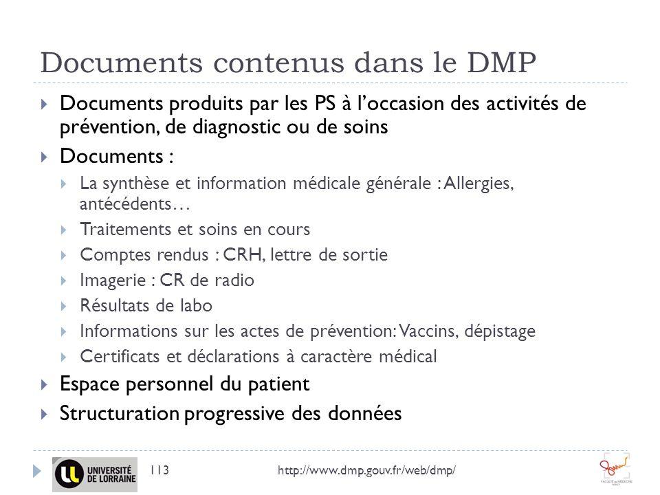 Documents contenus dans le DMP