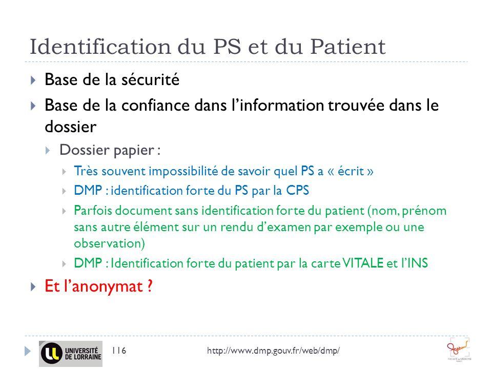 Identification du PS et du Patient